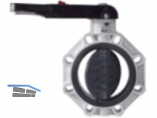 Endabsperrklappe PP/EPDM D 160 LUG-Version m.Handhebel