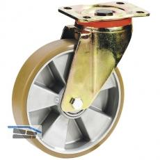 Schwerlastlenkrolle Polyurethanbereifung u. Kugellager 100x30mm/Platte 100x85mm