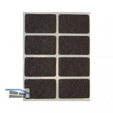 Filzgleiter rechteck, 36x22, Materialstärke 3 mm, selbstklebend, braun, Inhalt 8