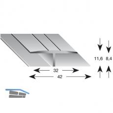 Gleitabschlussprofil H Alu silber eloxiert 8/2700 mm