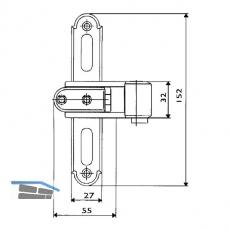 Ladenkreuzband Rustico gekröpft, seitlich verstellbar, Gr. 0, schwarz (208750, ehem. 57010)