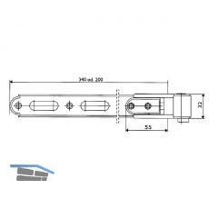 Ladenlangband Rustico gekröpft, seitlich verstellbar, Gr. 2, 340 mm (56982)