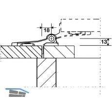 Ladenwinkelband Rustico flächenbündig, nicht verstellbar, schwarz (14048)