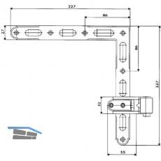 Ladenwinkelband Rustico gekröpft, seitlich verstellbar, Gr. 2 (14228)