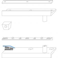 Schließzapfenplatte Rustico für Läden mit Abstand 20 mm, schwarz (14008)