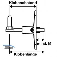 Verstellkloben o.Haltekonsole f. gekröpfte Bänder,Gr.L135, 135mm,schwarz(56843)