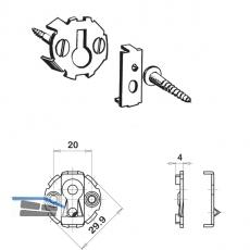 UWG-Verbinder, ø 30 mm, Einlasstiefe 4,5 mm, Stahl verzinkt