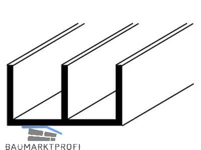 alu u profil natureloxiert 1000mm doppel u 16x12x1mm 10236 baumarktprofi. Black Bedroom Furniture Sets. Home Design Ideas