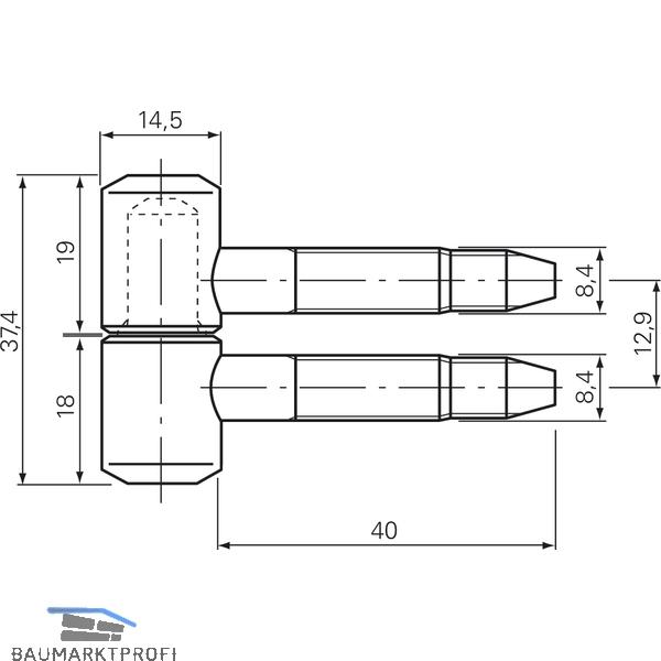 Stahl verzinkt 14,5 mm Einbohrband