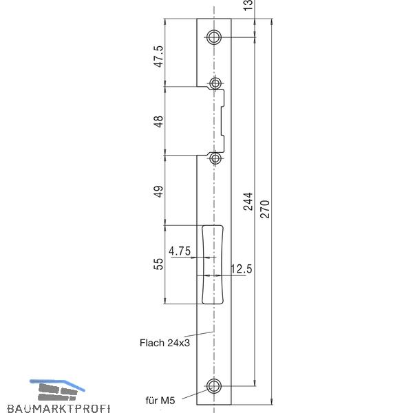 1 St/ück WSS Schlie/ßblech f/ür Schmalkastenschl/össer Edelstahl 270 x 24 x 3 mm zur Verwendung mit E-/Öffner