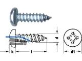 Blechschraube Linsenkopf verzinkt DIN 7981 2,2 x  6,5