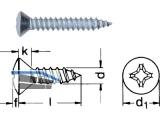 Blechschraube Linsensenkkopf A2 DIN 7983 2,9 x  6,5