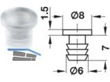 Anschlagpuffer für Bohrung Ø 6,0 mm Kunststoff transparent