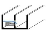 Alu-U-Profil natureloxiert 1000mm doppel U, 16x 7x1mm  10228