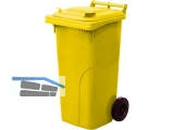 Abfall und Wertstoffsammelbehälter 120L Farbe: Gelb - mit Radsatz