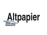 Aufkleber mit Aufdruck zu Müllbehälter \ALTPAPIER\ transparent/weiß (300x350mm)