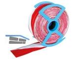 Absperrband rot/weiß 80 mm reißfest mit 2 eingelegten Fäden Länge 250m