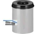 Papierkorb selbstlöschend 15l,Stahlblech alugrau/schwarz Premium Nr. 3010.9437