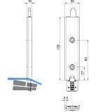 Anschlusseinheit zu Falzhebelgetriebe, Secury Automatic 130 mm, oben, universal
