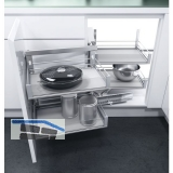 VAUTH-SAGEL PREMEA WACO Artline Eckauszug li., KB900, silber/MDF grau/Glas sat.
