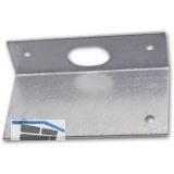 Riegelschließblech abgewinkelt, mit ovalem Loch, 70 x 40 x 21 mm, Stahl verzinkt