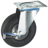 Lenkrolle mit Stahlblechfelge Luft-Bereifung 200 x 50 mm/Platte 140 x 110 mm