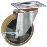 Lenkrolle mit Alufelge Polyurethan-Bereifung  80 x 25 mm/Platte 100 x 85 mm