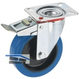 Feststell-Lenkrolle mit Elastikrad u. Rollenlager 100 x 36 mm/Platte 100 x 85 mm