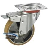 Lenkrolle m. Alufelge PU-Bereifung Totalfeststeller  80x25mm/Platte 100x85mm