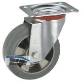 Lenkrolle mit Alufelge Elastik-Bereifung 125 x 40 mm/Platte 100 x 85 mm