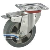 Lenkrolle m. Alufelge Elastikbereifung Totalfeststeller 160x50mm/Platte140x110mm