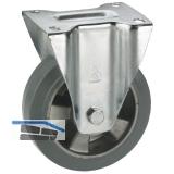 Bockrolle mit Alufelge Elastik-Bereifung 125 x 40 mm/Platte 100 x 85 mm