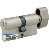 WC-Zylinder m. Drehknauf innen, 27/35 mm, Messing vernickelt matt