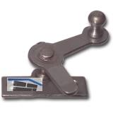 Zungenreiber mit Eisenknopf auf eckiger, austr. Platte, Stahl blank 15 mm rechts