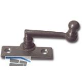 Fensterreiber m. Eisenknopf auf eckiger, austrag. Platte, 15 mm, Stahl blank