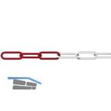 Absperrkette Kunststoff rot-weiß Materialstärke 6 mm 1 Bund=25 Meter