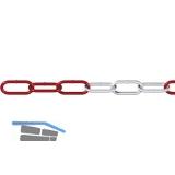 DIN5685-1 Absperrkette rot-weiß verzinkt 6 mm 1 Bund=15 Meter