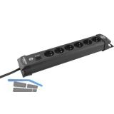 BRENNENSTUHL 6-fach Verteiler schwarz mit Schalter Länge 410 mm