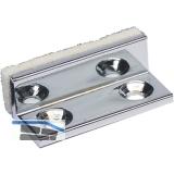Anschlagpuffer für Glastüren, 30x10x12mm, Messing verchromt poliert
