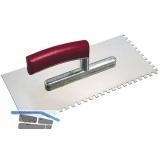 KAUFMANN Auftrag Glättkelle 280 x 130 mm rostfrei zweiseitig gezahnt 10 x 10 mm