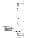 Treibriegelstange BKS 9006, 1010 mm, m. Gleitstopfen f. oben, Stahl verzinkt