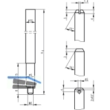 Treibriegelstange BKS 9006, 1187 mm, f. unten, Stahl verzinkt