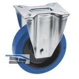 Bockrolle mit Elastikrad u. Rollenlager 100 x 36 mm/Platte 100 x 85 mm