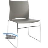 TOPSTAR Web-Chair Besucherstuhl, Sitzschale-Rückenlehne KS grau, Gestell verchr.
