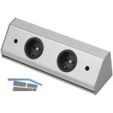 Steckdosenleiste Corner Compact 230 V, max.3500 Watt, L 260 mm, Edelstahl Effekt