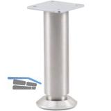 Dekorfuß Fuß ø 30 mm, Länge 100 mm, +10mm, Fussteller, Aluminium gebürstet