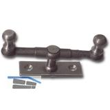 Doppelreiber mit Eisenknopf auf eckiger, gerader Platte, 15 mm, Stahl blank