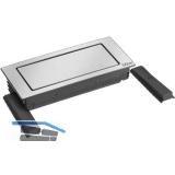 EVOline BackFlip, 2 Stk. Schukosteckdosen, 1 Stk. USB-Charger, Edelstahl