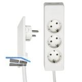 EVOline Plug-Verlängerung mit 3-fach Verteiler, Kunststoff weiß