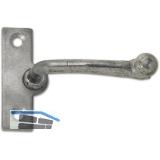 Fensterreiber m. Eisenknopf auf eckiger, austrag. Platte, 15 mm, Grauguss blank